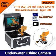"222.15$  Buy now - http://ali0wq.worldwells.pw/go.php?t=32754596525 - ""Free shipping!BOBLOV 7"""" LCD 20M HD 1000TVL Underwater Fishing Camera DVR Recorder Fish Finder"""