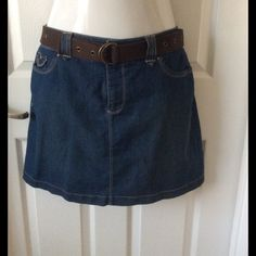 Sonoma Denim Skirt This size 12 Sonoma Denim Skirt is in great condition. It comes with a belt and 2 front and back pockets. It has shorts underneath shown in one of the pictures above. Sonoma Skirts Mini