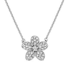 This feminine floral pendant features a luminous center diamond surrounded by five delicate petals that glitter with pavé-set diamond accent...