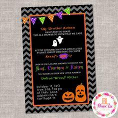 Halloween Diaper Baby Shower Invitation - Digital File by BlaineLeeCo on Etsy https://www.etsy.com/listing/469713971/halloween-diaper-baby-shower-invitation