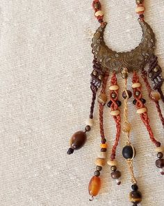 Gypsy dancer bohemian necklace boho jewelry earthy colors beaded macrame necklace - tagt team