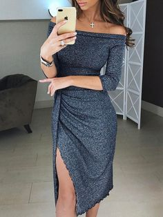 【Chicme Cyber Week Big Sale】Extra 10% OFF+ 50% OFF sitewide+ Check out with PayPal save $5. Metallic Off Shoulder Sexy Pleated Dress