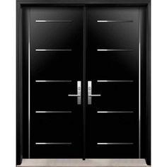 Modern Double Exterior Doors with Stainless Steel Stripes Double Door Design, Main Door Design, Wooden Door Design, Front Door Design, Double Front Entry Doors, Double Doors Exterior, Modern Entrance Door, Modern Front Door, Modern Garage