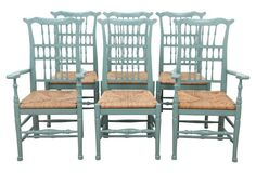 Provencial French Rush Seat Dining Chairs, Light Blue Paint, S/6