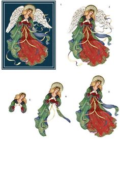 decoupage sheets 3d photo: Christmas Angel 3D Sheet angelred.jpg