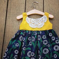 Doily Dress Mustard and Navy Girls Dress boho by ShelbyJaneandCo