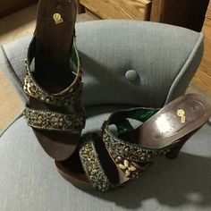 Boutique shoes Wood frame and detailed straps they fit like a 7 None Shoes Heels