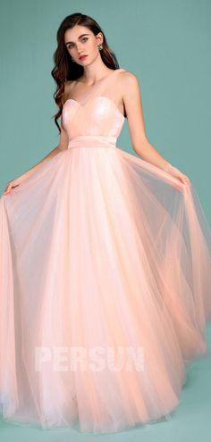 76d60b47e50 Romantique robe pêche clair longue en tulle avec bretelle convertible pour  mariage