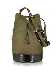 Kenzo Bike Suede Tea Green Leather Bucket Bag