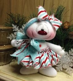 "Primitive HC Holiday Christmas Doll Snowman Snowgirl Snowflake 7"" Super Cute! #IsntThatCute #Christmas"