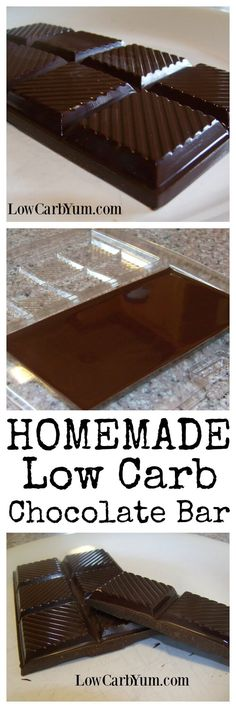 These low carb homemade chocolate bars are inexpensive to make. And, the ingredients won't cause digestive pain like some sugar-free candies.   LowCarbYum.com