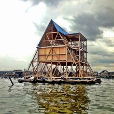 Escuela flotante Makoko de edición no lineal en la laguna de Lagos (esta escuela…