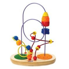 A 4 stage wood and rubber rocket and 12 assorted beads can launch and shoot up and around three brightly colored wires set in orange and green lunar like moon craters. Develops hand-eye coordination.