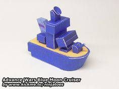 The latest addition to my papercraft Advance Wars army: the Blue Moon Cruiser! Parts and instructions at http://ninjatoes.wordpress.com/2014/12/13/advance-wars-blue-moon-cruiser/