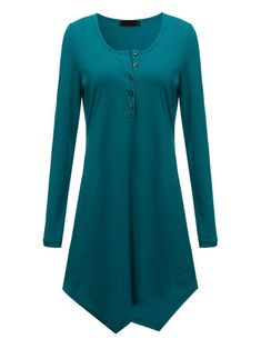 Casual Women Solid Button Scoop Neck Asymmetric Hem Long Sleeve Tunic Top