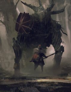 """Symbaroum RPG: """"The witches of the barbarian clans can sometimes be seen riding and fighting alongside the mysterious beasts known as Colossos – huge ox-like creatures with bodies made up of what seems to be wooden fibers."""" (Image: Järnringen)"""