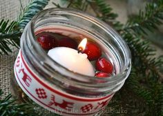 make christmas centerpiece with cranberries and candles - Google Search
