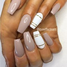 Glossy White and Nude Gold Coffin Nails. This simple glossy nail art design for the coffin nails is what you need to have.