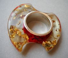 Love the flecks of color!! --> resin and silver ring