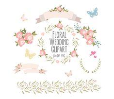 Rosas flores clipart conjunto 3, imágenes prediseñadas de la boda, corona Digital, flores, cintas, pájaros, laureles, frontera floral