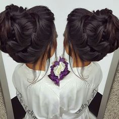 Pin by jessica pfeiffer on Wedding updo in 2018 Easy Bun Hairstyles For Long Hair, Quince Hairstyles, Bride Hairstyles, Cool Hairstyles, Elegant Hairstyles, Wedding Hair And Makeup, Bridal Hair Updo High, Wedding Updo, Front Hair Styles