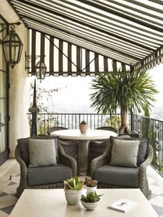 Furnish your porch to make the most out of your space, Ellen Pompeo recommends. Think of your porch or deck as a bonus room and dress it up with a traditional seating area and all the comforts of home(How To Make Dress Room) Indoor Outdoor Pillows, Deck Awnings, Balcony Decor, Home, Outdoor Space, Outdoor Rooms, Living Spaces, Porch Design, Porch