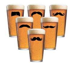 Mustache pint glasses... I need these especially for MOvember and watching the WILD!~