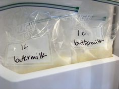 Freezing buttermilk...great idea since I never actually use a whole container and never have it when I need it!