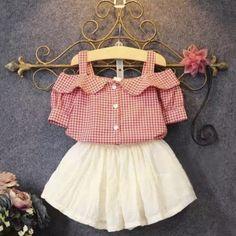 2016 Summer New Girls Lovely Princess Skirts Suit Kids Plaid Off Shoulder T-Shirt White Skirt Twinset Children Clothing Set G648