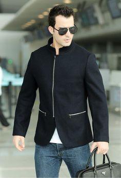 """Trendy Series"" Stand Up Collar Long Sleeve Wool Zipper Fashion Coat"