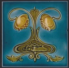 English Art Nouveau Tile - Lea & Boulton