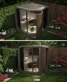 i just love this idea for an office an office pod that fits in the garden or a corner in the home backyard home office pod