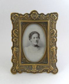 1900's Art Nouveau Victorian / Edwardian  Brass Photograph Frame and Photograph (with glass protection still in place)