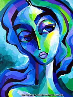 Expression in Blue and Green abstract original painting by artist Martina Shapiro, contemporary female fine art
