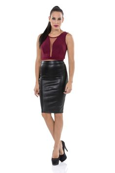 Leather Skirt, Skirts, Tops, Fashion, Moda, Leather Skirts, Fashion Styles, Shell Tops, Skirt