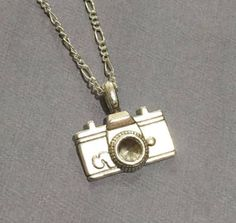 Minimal Silver Tone Camera Pendant Necklace - Chain Necklace- Simple Bohemian Hobo Style Necklace