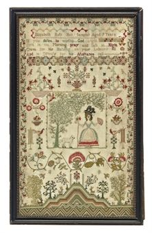 A GEORGE III NEEDLEWORK SAMPLER BY ELIZABETH BUTS, CIRCA 1800 Aged 9 years, worked with a lady with her fan in a dress, with a hillock below the mosswork trees.