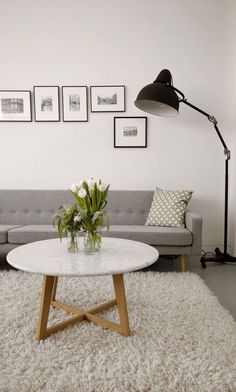 A Light-Filled Shared Workspace by Mäike Design Studio - Design Milk/ I love the lamp! Home Living Room, Living Spaces, Table Cafe, Muebles Living, Interior Decorating, Interior Design, Interior Modern, Decorating Ideas, Home And Deco