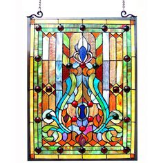 This Tiffany style Victorian design window panel will add color and beauty to any room. Description from overstock.com. I searched for this on bing.com/images