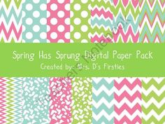 Spring Has Sprung Digital Paper Pack from Mrs. Ds Firsties on TeachersNotebook.com (38 pages)  - Spring Has Sprung!  Use these papers to bring some color into your products or projects!
