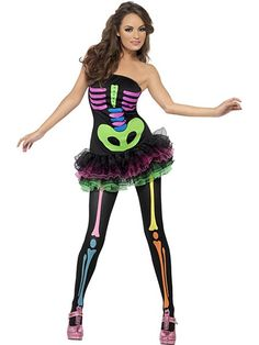 Ladies Neon Skeleton Costume  Down right sexy to the bone. You don't have to be living to have a blast on Halloween night. In this sexy Skeleton Costume you'll be ready to shake your bones with the best of them.