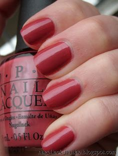 I love this color. I looked and looked for this shade all last fall and couldn't seem to find it. This makes me anxious for fall to get here so I can wear it. OPI Grand Canyon Sunset from Nagellack-Junkie.