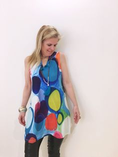 Claire Desjardins Tunic Top is perfect for Summer 2019 office and the after work cocktail party!  #clairedesjardins #clairedesjardinsart #ClaireDesjardinsApparel #Sundress #JeanJacket #cami #WomensApparel #WearableArt #designerclothing #apparel #designerapparel #artandfashion #fashionandclothing #artonclothing #abstractart #abstractpainting #designerclothes #womensapparel #womens #Tunic #Dress #ShiftDress