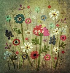 Flower fabric picture Aged By lucy levenson designs