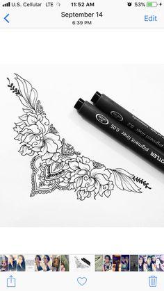 Pattern Tattoos, Sternum Tattoo, Body Drawing, Pretty Tattoos, Surfs, Piercing Tattoo, Future Tattoos, Skin Art, Body Mods