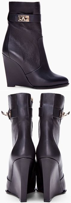LE FASHION BLOG GIVENCHY BLACK LEATHER SHARK TOOTH WEDGE BOOTS BOOTIES PERFECT FALL WINTER BOOT