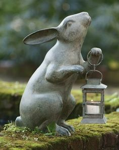 Elegant Rabbit With Lantern   Garden Statues
