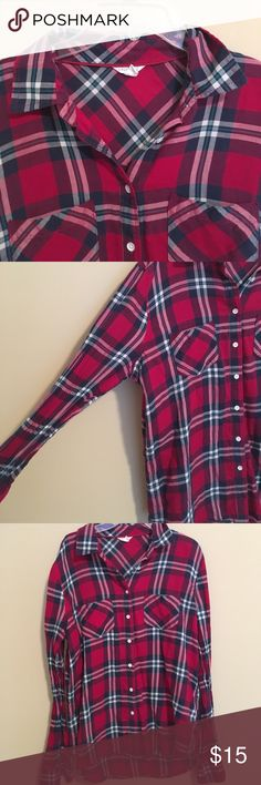 Aeropostale Flannel Super soft flannel from Aeropostale. Base color is pink with white & blue. There are pockets on both side of the chest & the buttons are white. No holes/stains. Smoke free home Aeropostale Tops Button Down Shirts