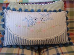 Spring Bluebird Pillow Made from Vintage Linen - what a great idea, and so lovely!