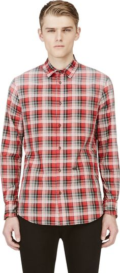 Red Plaid Longsleeve Shirt by DSquared. Buy for $645 from SSENSE